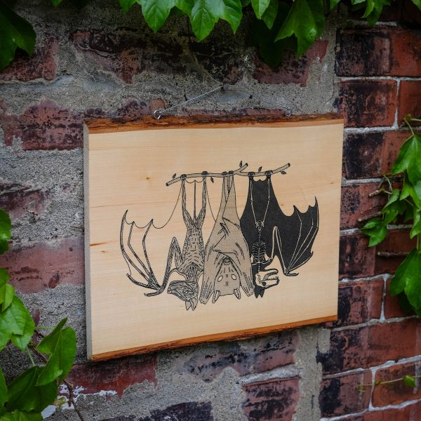 Anatomy of the Bat | Screenprinted Wood Slab