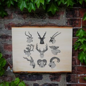 ANTLERS & HORNS | Screenprinted Wood Slab