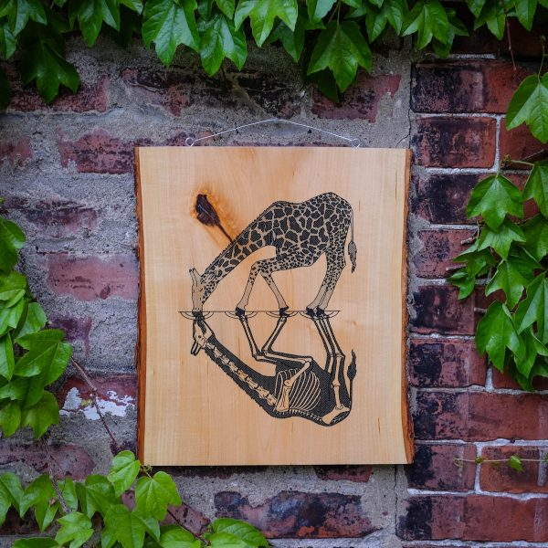 Anatomy of the Giraffe | Screenprinted Wood Slab